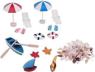SoundsBeauty Doll House Accessories, Miniature Beach Chair Umbrella Boat Shells Model Mini Ornament Children Toy Gift