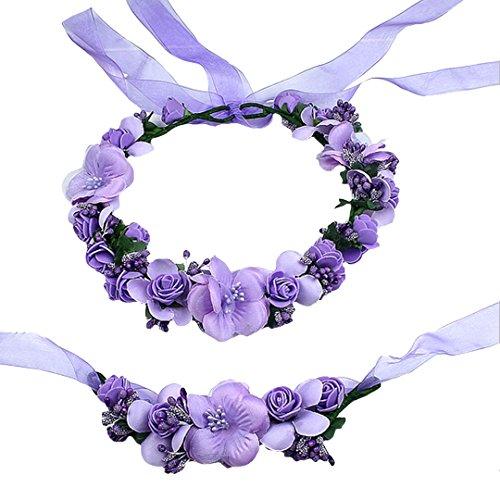 AiSi Blumenkranz mit Armband, Handgelenk Band Haarband Set, Stirnband Haarkranz Blumen Krone Boho Style für Festival Hochzeit Braut Brautjungfer Party (Lila)
