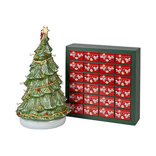 Villeroy und Boch Christmas Toy's Memory Adventskalender-Set 26tlg., Weihnachtskalender mit 24 Porzellanfiguren aus Hartporzellan, inkl. Baum