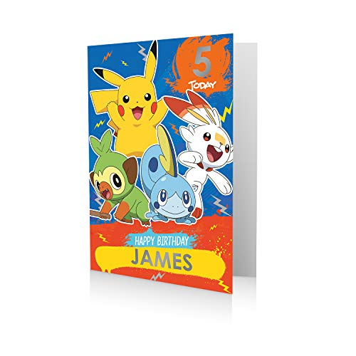 Offizielle Pokémon-Geburtstagskarte, Stickerbogen zum Personalisieren von Namen und Alter