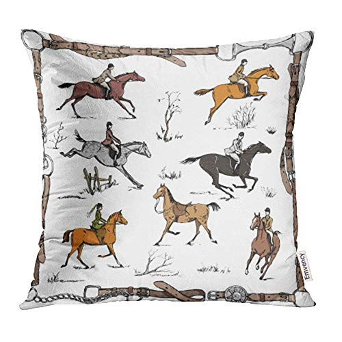 Emvency 20x20 inch Throw Pillow Covers Decorative Case Derby Equestrian Sport Fox Hunting with Horse Riders English on Landscape England Cover Square Pillowcase Cushion Cases Print On Two Sides