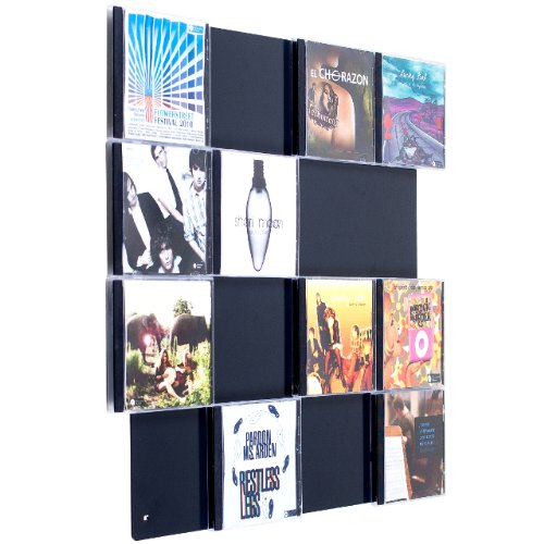 CD-Wall Farbige Design CD-Wand/CD Wanddisplay/CD Wandhalter/CD Halter Square 4x4 Farbe: Schwarzgrau für 16CDs zur sichtbaren Präsentation Ihrer Lieblings Cover an der Wand