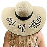 DRESHOW Donne Protezione Solare Cappello da Sole UV Paglia da Cappello Della Cappello da Spiaggia Estate Cappello di Paglia Cappuccio UPF 50+