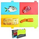 Twinkle Juegos de Tablas de Cortar, tapete para Cortar codificado por Colores con Iconos de Alimentos, para Grupos de Alimentos Separados Juego de 4 tapetes para Cortar de Cocina con Soporte (01)