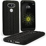 igadgitz U5013 Neumático Silicona Gel Goma Funda Carcasa Compatible con LG G5 H850 H840 (2016) Case Cover + Protector Pantalla - Negro