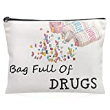 Nurse Practitioner Gifts For Women - Bag Full Of Drugs- Funny Medicine Cosmetic Pill Bag Storage Multifunction Pouch For Her Mom Teens Girls Sisters Daughter Patient Birthday Gifts