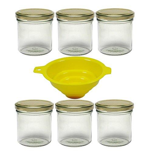 Viva Haushaltswaren 6 Einmachgläser 165ml, Sturzgläser, Marmeladengläser mit Schraubverschluss in Farbe Gold, inkl. einem Einfülltrichter Einmachgas, Glas, transparent, 6.3 x 6.3 x 7.3 cm, 6-Einheiten