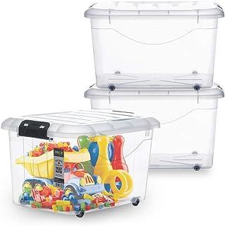 HOUZE 30L Motif Storage Box with Wheels, (Set Of 3), (SB-1111-CLEAR-3)