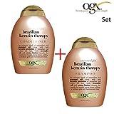ogx® (ehemals Organix) Ever Straight Brazilian Keratin Smooth SHAMPOO 385 ml + CONDITIONER / SPÜLUNG 385ml - für den länger anhaltenden Style bei welligem und lockigem Haar