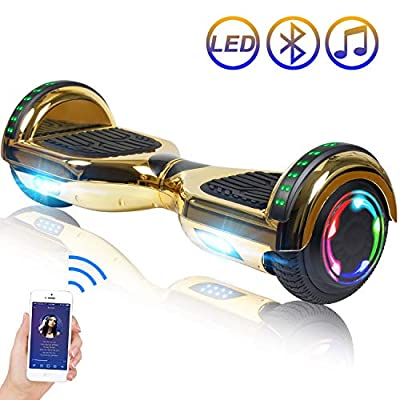 """Hoverboard Self Balancing Scooter 6.5"""" Two-Wheel Self Balancing Hoverboard with Bluetooth Speaker and LED Lights Electric Scooter for Adult Kids Gift UL 2272 Certified Plating Dazzle Series - Gold"""