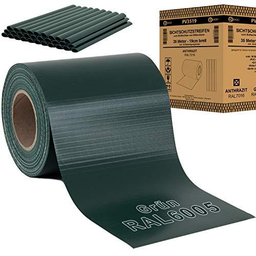 REXOO® PVC Sichtschutz Rolle Streifen Doppelstabmatten Zaun Folie Zaunblende inkl. 30 x Befestigungsclips Grün 19 cm x 35 m - 450 g/m²