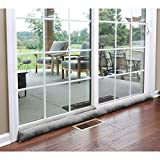 HOME DISTRICT Sliding Door Draft Dodger - Weighted Patio Door Breeze, Bug and Noise Guard Stopper Blocker - Approx. 71' Long - Gray