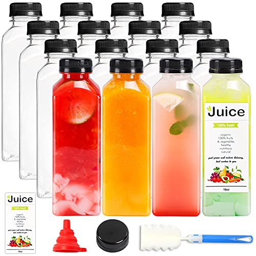 16 Pack 16oz Reusable Plastic Bottles with Caps, Empty PET Juice Bottle with Lids for Juicing, Smoothies, Drink, Water Containers