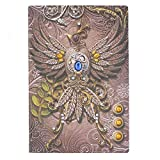 Phoenix Embossed Leather Journal, Antique Handmade Leather Writing Notebook Bird Journal Travel Diary,100 Sheets Lined Papers (Multicolored)