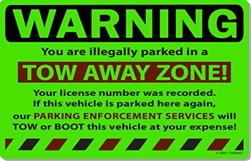 "50 Green Fluorescent Tow Away Zone! Warning Violation Auto Car Window Stickers 8"" X 5"""