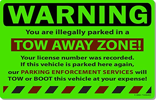25 Green Fluorescent Tow Away Zone! Warning Violation Towing Auto Car Window Stickers 8' X 5'
