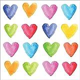 CasaJame Set di 40 (2 Confezioni da 20 Pezzi cad) Tovaglioli in Carta Monouso 3 Strati Veli 33x33cm Multicolore Motivo Cuori Acquarelli