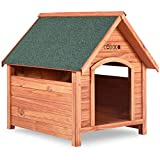 Deuba caseta de perro para jardín color marrón 82x72x85cm xxl de madera maciza resistente a la intemperie pies aislantes