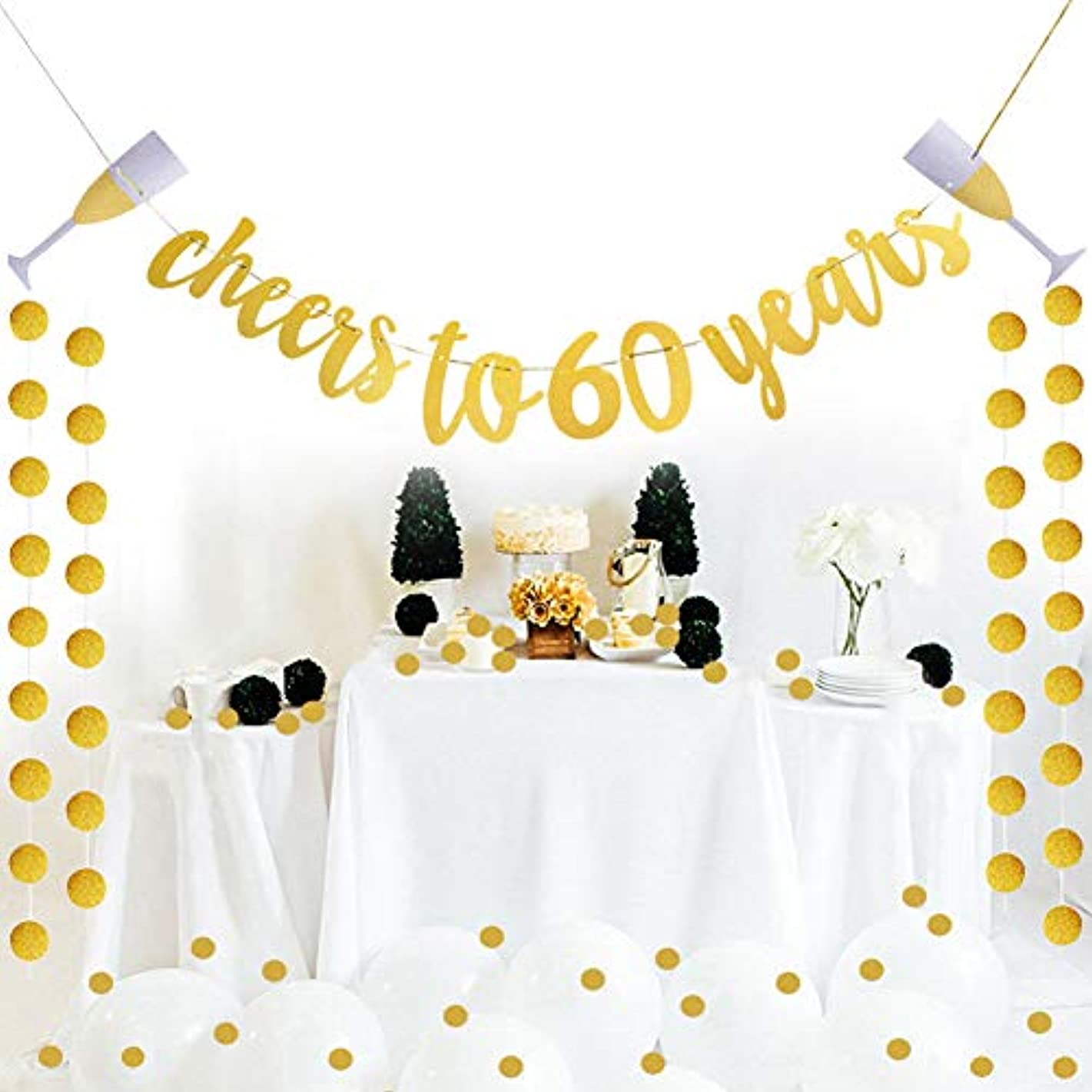 Threemart Glittery Gold Cheers to 60 Years Banner for 60th Birthday Wedding Anniversary Party Decoration