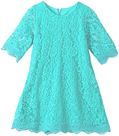 APRIL GIRL Flower Girl Dress Lace Dress 3 4 Sleeve Dress Mint 18 24 Months product image