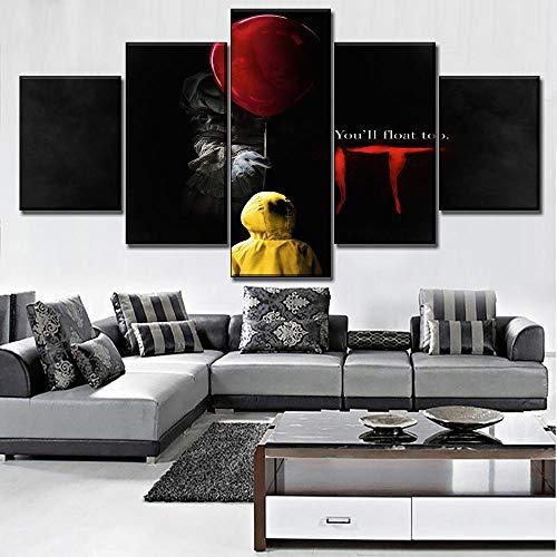 Home Dekorative Wandkunst Movie Poster Leinwanddruck 5 Stücke Clown Es Pennywise Scary Poster Für Moderne Wohnzimmer(size)