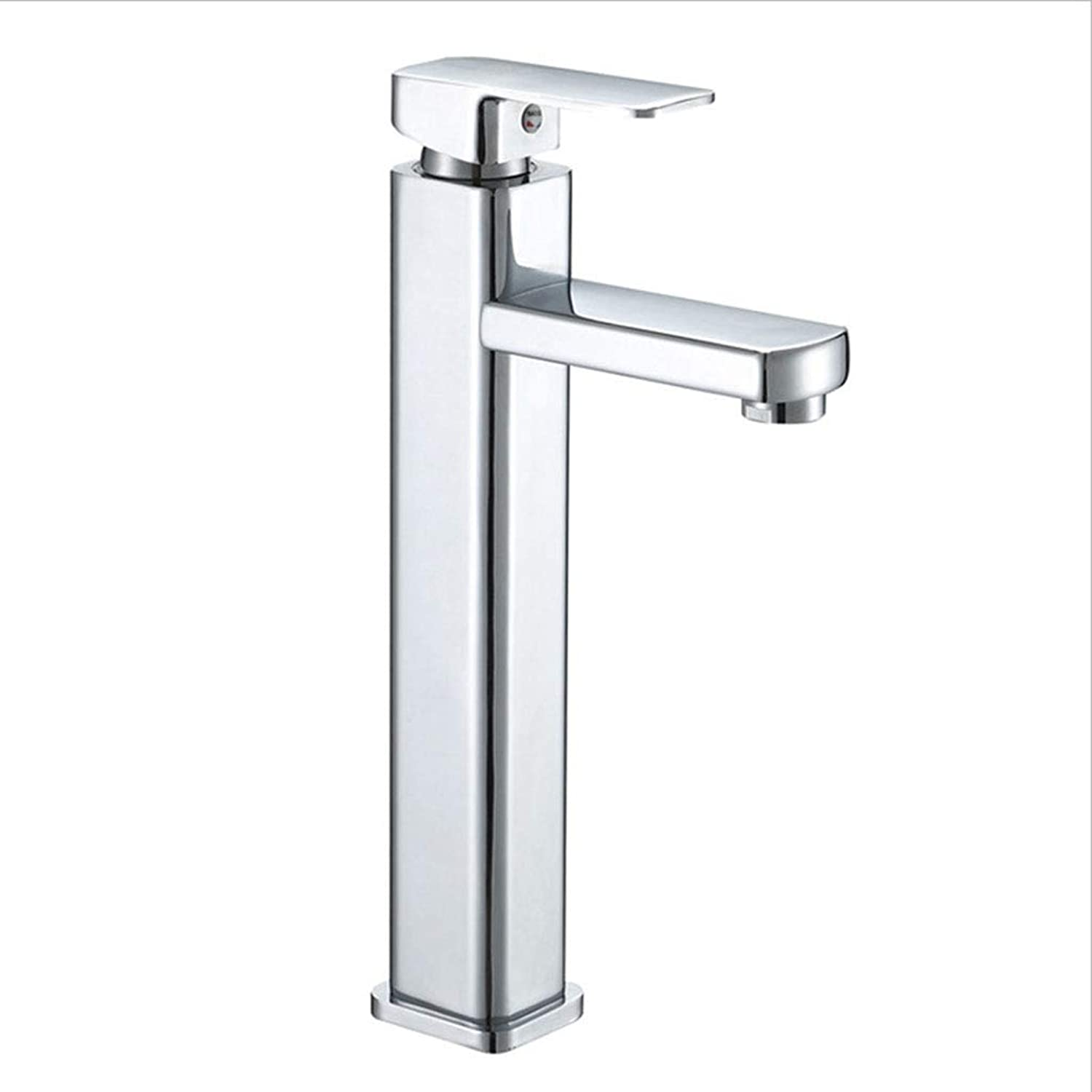 JLC Heightening Single Hole Hot and Cold Mixing Tap Brass Mixer Tap Bathroom Sink Washroom Basin Single Lever