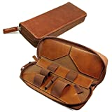 Tuff Luv Vintage Faux Leather Luxury Travel Case & Refill Holder for E-Cig Box Mod Vape Pen - Brown