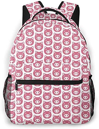 pig icon Basic Travel Laptop Backpack Novelty School Bag-Pig Icon