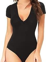MANGOPOP Womens Modal V Neck Short Sleeve Bodysuit Jumpsuit