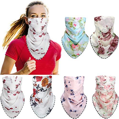 6 Piezas Cubierta de Cara Bandana de Protección de Sol de Mujeres Bufanda de Cuello de Seda Braga de Cuello de Gasa Ligera para Deportes Festivales al Aire Libre