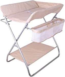 LHSUNTA Baby Portable Changer Station Foldable Diaper Table for Newborn and Infant with Storage Bottom Shelf 81x56x82cm
