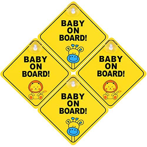 Popuppe 4 Stücke Baby on Board Aufkleber Mit Saugnapf Kind Auto Aufkleber,Baby an Bord Schild für Auto,wasserdicht,Hitzebeständig,Zwei Tiermuster, Gelb