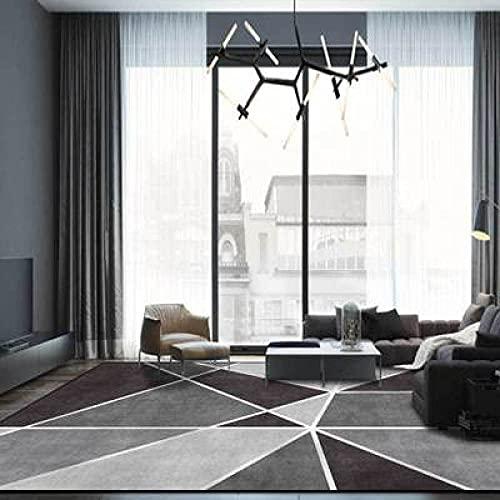 Stora mattor Runner Modern Designer Rug Mörkgrå svart geometriska vita linjer korsar Traditionellt hållbart fashionabelt enkelt underhåll 140×200CM (4ft7x 6ft6)