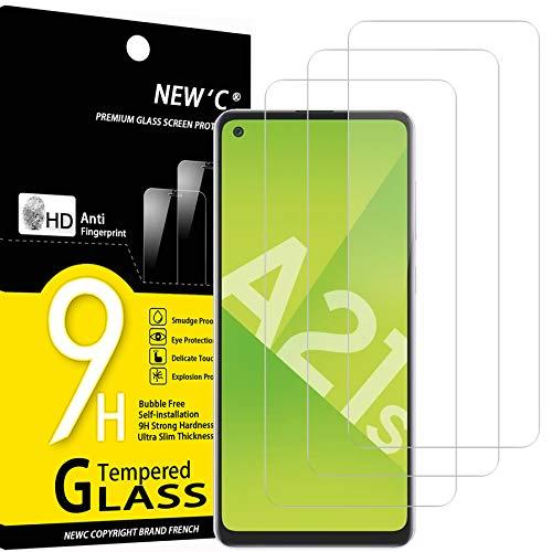 NEW'C 3 Stück, PanzerglasFolie Schutzfolie für Samsung Galaxy A21s, Frei von Kratzern Fingabdrücken & Öl, 9H Festigkeit, HD Bildschirmschutzfolie, 0.33mm Ultra-klar, Ultrawiderstandsfähig