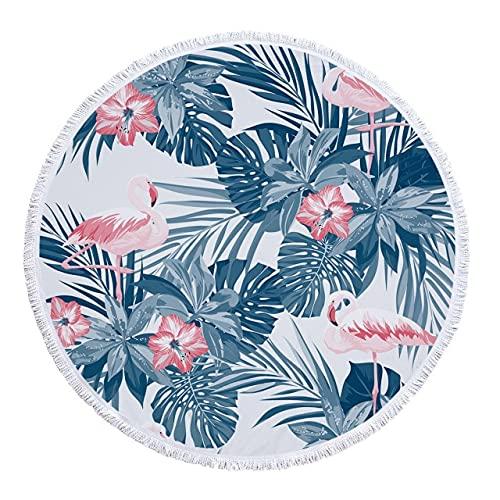 IAMZHL Toalla de Playa Redonda delicadas Impresiones FloralesMicrofibra Toallas de baño de Tela sin Arena para Alfombra al Aire Libre Sala de Estar decoración del hogar-a8-150x150cm