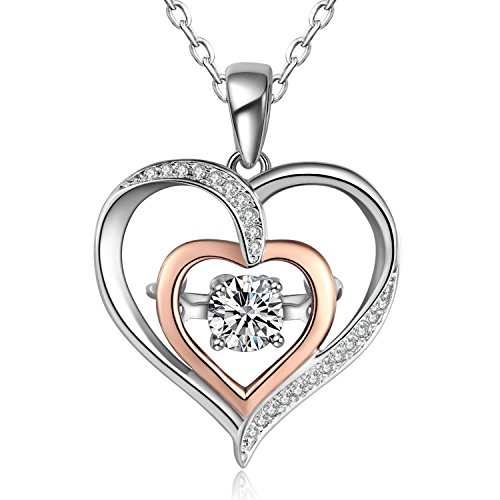 Caperci Diamond Accent Double Heart Pendant Necklace in Sterling Silver and White Cubic Zirconia, 18