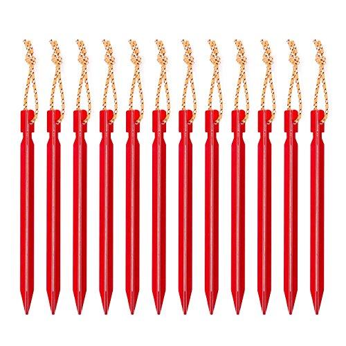 明るい赤テントペグ18cm 軽量ジュラルミン製12本セット 収納に便利なオリジナル 収納袋 付き アウトドアキャンプ用品ペグ
