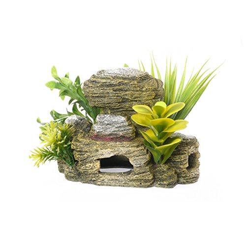 Blue Ribbon Grotte Rocheuse avec Plantes Ornement pour Cuves à Poissons/Aquariums 18 cm