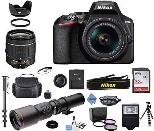 Nikon D3500 24.2MP DSLR Camera + AF-P DX 18-55mm VR NIKKOR Lens + 500mm Preset f/8 Telephoto Lens + Accessory Bundle + Inspire Digital Cloth