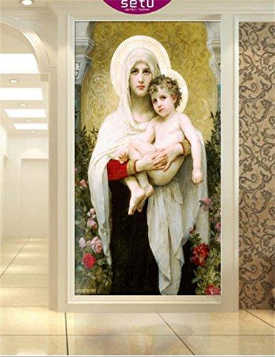 Yosot 3D Papel pintado Comedor Porche Papel Tapiz Personalizado Foto Murales Pintados A Mano De La Figura De Aceite Virgen Entrada Papel pintado Murales Para Pared 3D-400Cmx280Cm