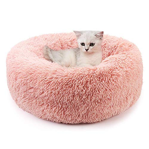 Cuccia Gatto Cane Interno Morbida - Cuscino per Cani Gatti Nuvola Soffice Peluche Rotondo da Ciambella, Letto Pelosa Antistress per Animale Domestico Piccola Media(M-50cm/19.7in, Rosa)