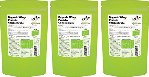 Organic Whey Protein 3kg (1kg x 3) Grass Fed SOYA Free Concentrate Powder Pure Natural Unflavoured Gluten Free Low Carb Vegetarian No GMO