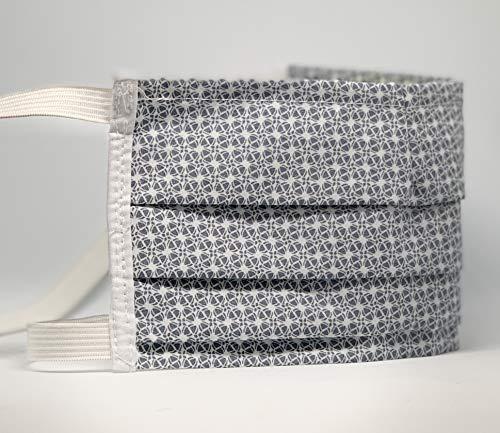Mund und Nasenbedeckung für Menschen mit Hinterohr - Hörgerät weiß mit grau retro Muster waschbar 100% Baumwolle hergestellt in Deutschland mit Gummibändern