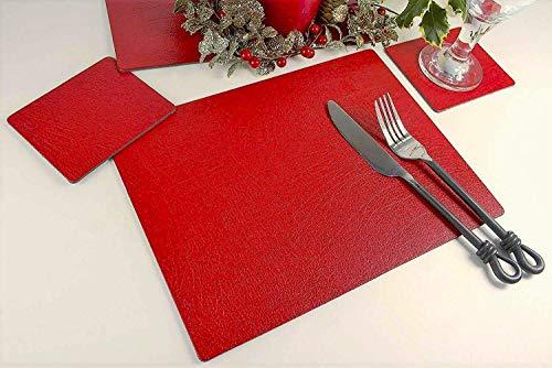 Giftag Lot de 4 Sets de Table et 4 Dessous-de-Verre en Cuir lié de Noël Rouge, fabriqué au Royaume-Uni, 8 pièces