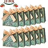 JoGoi 12pcs Cajas para Bombones Cajitas para Regalos de Carton Cajas para Cumpleaños Bolsa para Fiesta Regalo Dulces Cajita Paper Caramelos Navidad Boda Cumpleaños Bautizo Graduación con Decoración