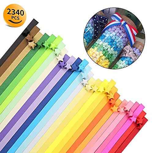 Origami-Papierstreifen, 2.340 Stück, 25 Farben, doppelseitig, für Papiersternchen, Dekorationen