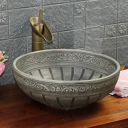 Waschbecken, Vintage-Stil, gemustert, handgefertigt, rund, Keramik, Kasbah-Waschbecken, Waschschüssel