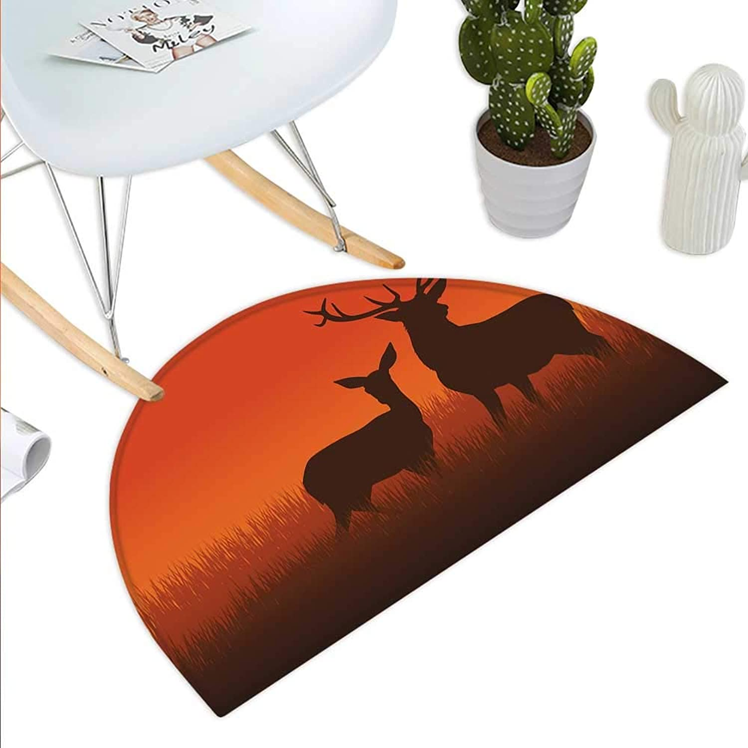 Hunting Decor Semicircle Doormat Silhouette Illustration of a Deer and Doe on Meadow Autumn Season Skyline Halfmoon doormats H 35.4  xD 53.1  Multicolor