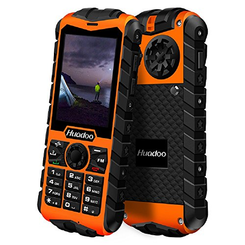 Huadoo H3 IP68 Rugged Waterproof Shockproof Dustproof 3G Physical Keypad Unlocked Smartphone 2.4 Inch 64M RAM 128M ROM Quad Core Long Standby Outdoor Sports Dual SIM Cell Phone (Orange)