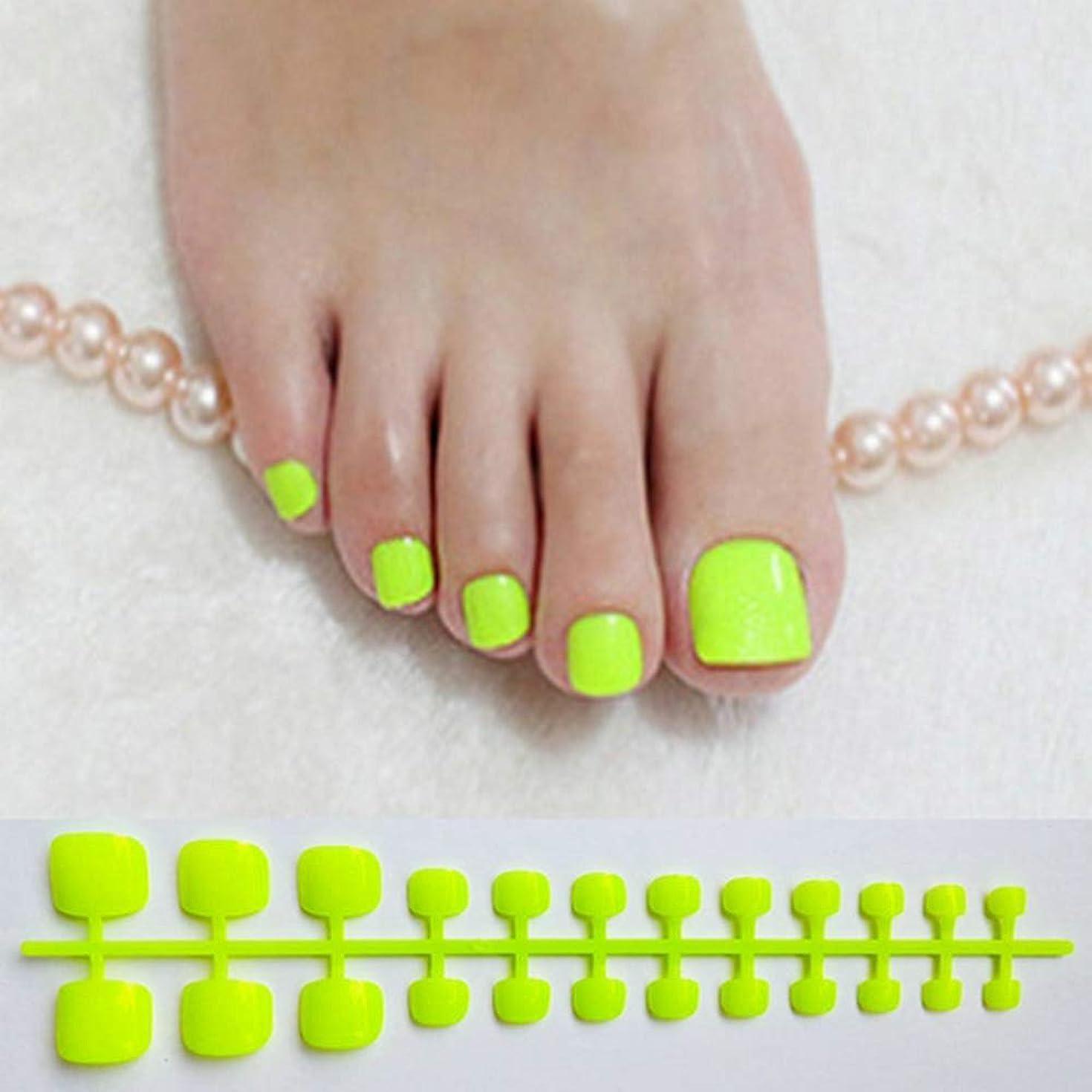 努力する作曲する未亡人XUTXZKA 人工爪色の爪の明るい緑の偽のつま先の爪の広場